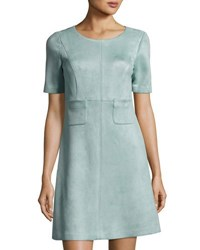 Tahari By Arthur S. Levine Scuba Faux Suede Pocket Dress Light Blue