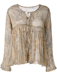 Mes Demoiselles Palms Print Ruffled Blouse Nude Neutrals