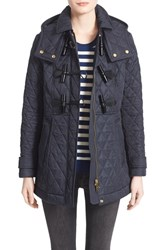 Women's Burberry Brit 'Blackston' Quilted Duffle Coat Navy
