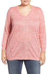 Sejour Plus Size Women's Space Dyed V Neck Sweater Coral Spice
