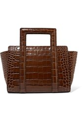 Rejina Pyo Madison Croc Effect Leather Tote Brown