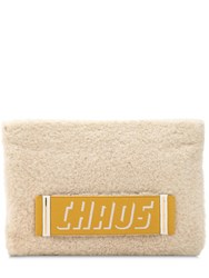 Chaos Printed Logo Shearling Clutch Cream