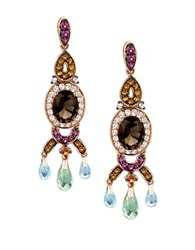 Levian Crazy Collection Citrine Topaz Quartz Rhodolite And 14K Strawberry Gold Earrings Rose Gold