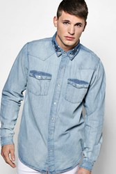 Boohoo Sleeve Denim Shirt With Embroidered Collar Mid Blue