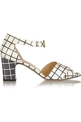 Bionda Castana Maggie Checked Leather Sandals White