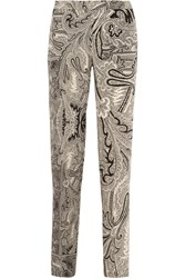 Etro Printed Silk Crepe De Chine Wide Leg Pants Black White