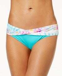 Coco Reef Tropical Escape Banded Bikini Bottoms Women's Swimsuit White Multi