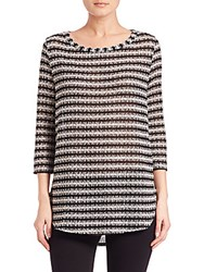 Splendid Striped Boatneck Tunic Black Silver Combo