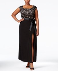 R And M Richards Plus Size Belted Lace Gown Black Champagne
