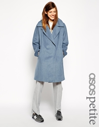 Asos Petite Trapeze Coat In Brushed Wool Blue