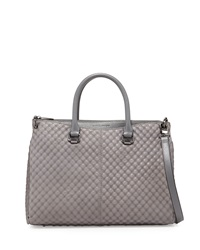 Charles Jourdan Macon Quilt Embossed Leather Tote Bag Gray
