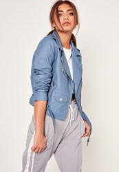 Missguided Blue Faux Leather Biker Jacket