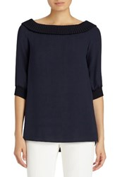 Lafayette 148 New York Women's Marlo Double Silk Georgette Off The Shoulder Blouse Ink