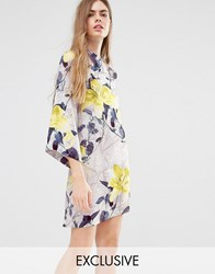 Every Cloud Floral Trellis High Neck Skater Dress Multi Print