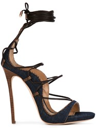 Dsquared2 Lace Up Sandals Women Leather Polyester 39 Blue