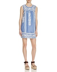 Joie Ashawa Floral Embroidered Dress Washed Denim Porcelain