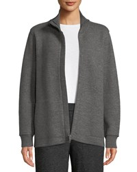 Eileen Fisher Boiled Wool High Collar Zip Front Jacket Ash