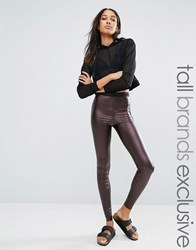 One Day Tall Pu Legging With Mesh Waist Detail Dark Dronze Brown