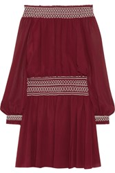 Tory Burch Indie Off The Shoulder Silk Georgette Mini Dress Merlot