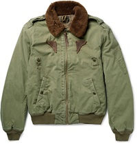 Polo Ralph Lauren Shearling Trimmed Down Filled Cotton Canvas Bomber Jacket Green
