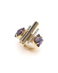 Alexis Bittar Three Stone Fancy Baguette Cocktail Ring Black