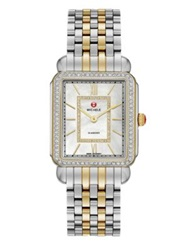 Michele Deco Ii Diamond Mother Of Pearl 18K Goldplated And Stainless Steel Bracelet Watch Silver Gold