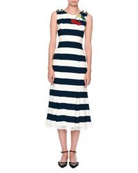 Dolce And Gabbana Cherry Embroidered Striped Dress Navy White Blue White