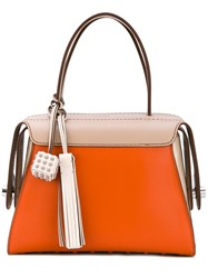 Tod's Contrast Tote Bag Women Leather One Size Yellow Orange