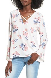 Lush Women's Cross Front Blouse Ivory Pink Floral