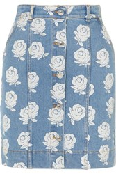 Kenzo Floral Print Denim Mini Skirt Light Denim