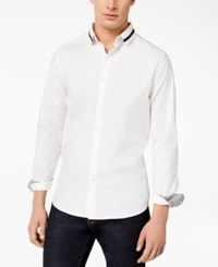Kenneth Cole Reaction Men's Ribbed Collar Shirt White