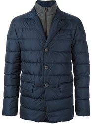 Herno Button Up Padded Jacket Blue
