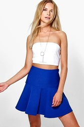 Boohoo Drop Hem Flippy Skirt Blue