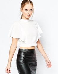 Asos High Neck Kimono Sleeve Crop Top With Open Back Ivory