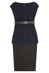 Donna Karan New York Dress With Leather Belt Multicolor