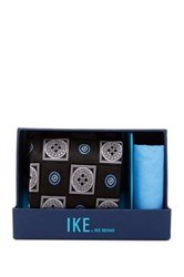 Ike Behar Charles Neat Silk Tie And Handkerchief Black