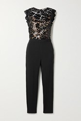 Michael Michael Kors Georgette Trimmed Sequined Crocheted Lace And Crepe Jumpsuit Black