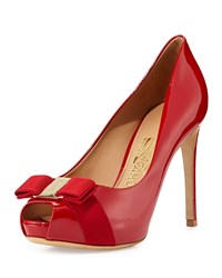 Plum Patent Peep Toe Bow Pump Red Rosso Salvatore Ferragamo