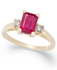 Macy's 14K Gold Ring Ruby 1 1 5 Ct. T.W. And Diamond 1 5 Ct. T.W. Emerald Cut 3 Stone Ring