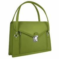 L.A.P.A. Double Compartment Calf Leather Women's Briefcase Green