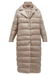 Herno Longline Ultralight Double Layer Quilted Coat Beige