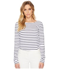 Lilly Pulitzer Tristan Top Bright Navy Mystic Stripe Clothing White
