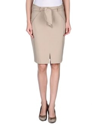 List Knee Length Skirts Beige