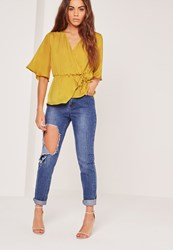 Missguided Satin Elastic Waist Tie Front Blouse Chartreuse Green Chartreuse