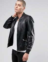 Allsaints Leather Bomber Jacket Black