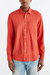 Koto Long Sleeve Slub Desert Button Down Shirt Coral