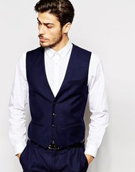Vito Super Skinny Waistcoat With Stretch Blue