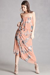 Forever 21 Chiffon Floral Maxi Dress Rose Coral