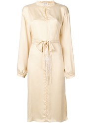 Forte Forte Belted Satin Midi Dress Nude And Neutrals