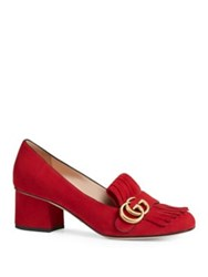 Gucci Marmont Gg Suede Block Heel Pumps Taupe Red Black Blue